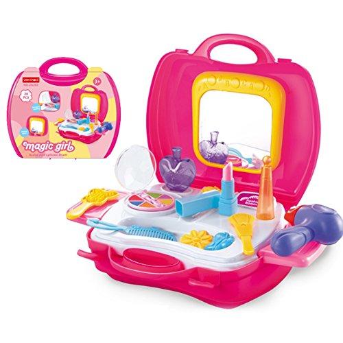 Ndier Juego de Maquillaje Pretender Juego Salon Toys Pretend Dress Up Kit de Aseo Set de Peinado para niñas Pretend Maquillaje