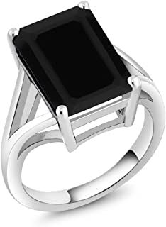 925 Sterling Silver Black Onyx Solitaire Ring 5.00 Ct Gemstone Birthstone, 14x10mm Emerald Cut (Available 5,6,7,8,9)