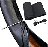 Cubierta funda volante para coche universal de cuero negro microfibra 37-38cm diámetro con aguja e hilo