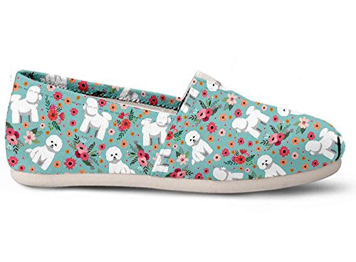 Gnarly Tees Bichon Frise Flower Casual Shoes, Size 8 White