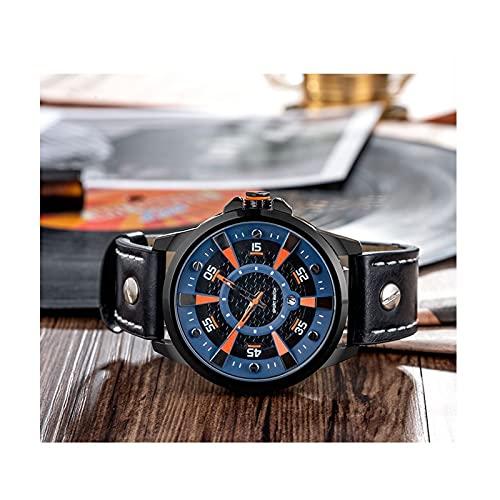 WNGJ Hombre Relojes Business Cuarzo Reloj Retro Cuero Impermeable Deportivo Relojes Multifuncional Deportes Al Aire Libre Reloj De Acero Inoxidable Doble Pantalla Simplic