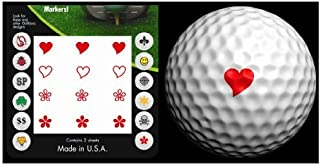 Golfdotz Golf Ball Transfers - Personalize Your Golf Ball - Red Hearts & Flowers