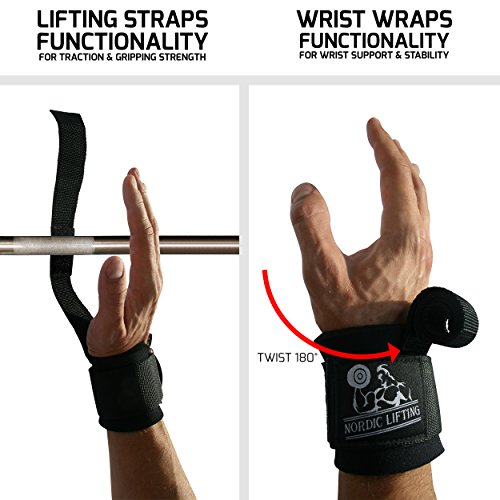 Nordic Lifting Strapwrapz, Lifting Straps and Wrist Wraps Functionality in 1 for Weightlifting, Powerlifting and Crossfit for The Best Support with Neoprene Padding
