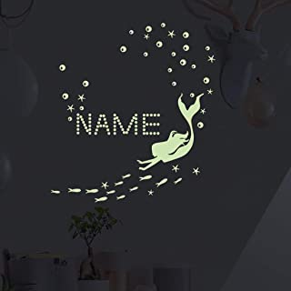 Glow in The Dark Ocean Bathtub Sticker Wall Decal, Starfish Mermaid Luminous Stickers DIY Name for Girls Bedroom Decor