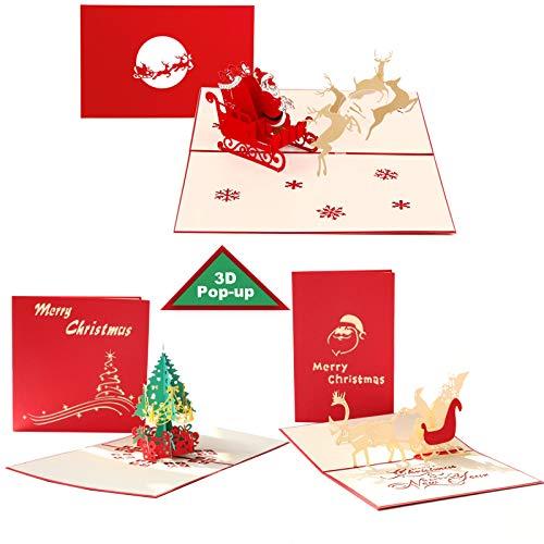 Weihnachtskarten mit Umschlag Set, 3D Pop up Frohe Weihnachten Karten mit Briefumschläge Weihnachtsmann Baum Rentier, Laser Lustige Pop Up Weihnachtskarte Geschenkkarten für Party Einladung