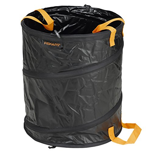 Fiskars PopUp-Gartensack mit Griffen, Fassungsvermögen: 56 Liter, Schwarz/Orange, Solid, 1015646