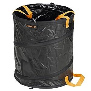 Fiskars Solid Bolsa para jardín con asas, Capacidad: 56 litros, Negro/Naranja, 1015646
