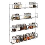 LIVIVO Chrome Spice Herb Jar Rack 40cm Wide Holder for Cupboard Door (4 Tier)