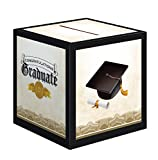 Creative Converting Graduation Card Holder Box Cap and Gown, Black/White/Gold