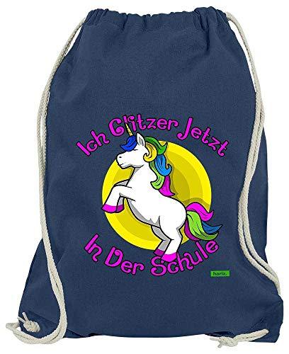 HARIZ Turnbeutel Ich Glitzer Jetzt In Der Schule Einhorn Einschulung Plus Geschenkkarte Navy Blau One Size