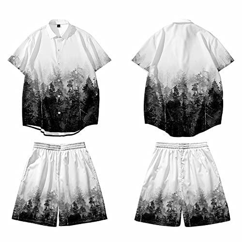 CHUIKUAJ Hombre Camisa de Manga Corta Pantalones de Playa Traje de 2 Piezas Cárdigan Kimono Suelto Camisetas de Hombre con Estampado Informal de Talla Grande,B-3XL