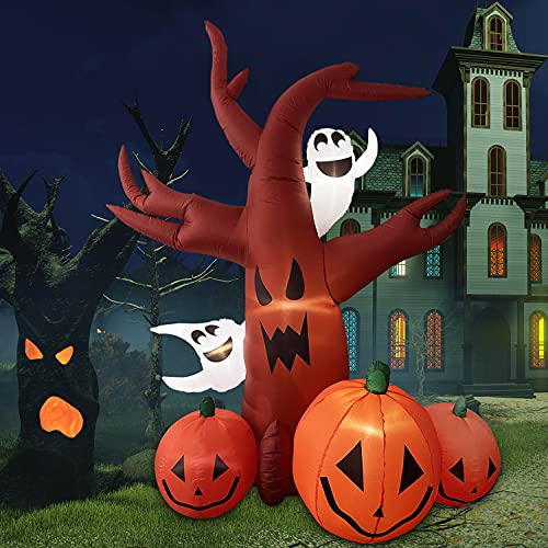 Halloween Inflatables Halloween decorations – 7.5FT Inflatable Dead Tree with Ghost, Pumpkin decor LED Lights Halloween Decor Outdoor Holiday Decorations, Blow up Yard Decor, Halloween inflatable tree