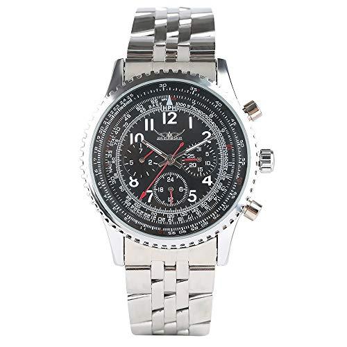 Herren-Armbanduhr, Edelstahl, mechanisch, mit Handaufzug, Datumsanzeige, wasserdicht
