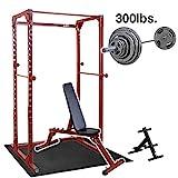 Best Fitness Power Rack with Weight Bench, 300lb. Weight Set and Bar, Floor Mat