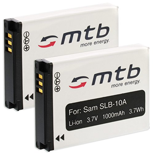 2 Baterías SLB-10A para Samsung ES50, ES55./JVC ADIXXION/Toshiba X-Sports/Silvercrest + Otros (Ver Lista)