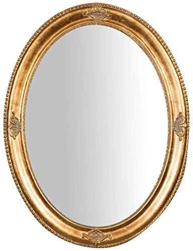 Biscottini Specchio, Specchiera Ovale da Parete, da Appendere al Muro Orizzontale Verticale, Shabby Chic, Trucco, Bagno, Cornice Finitura Colore Oro Anticato, L64xPR3xH84 cm. Stile Shabby Chic.