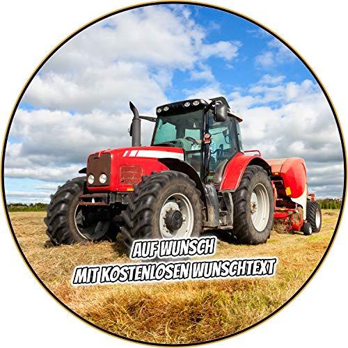 Tortenaufleger Geburtstag Tortenbild Zuckerbild Oblate Motiv: Trekker Traktor Rot (Oblatenpapier, ohne Ausschneideservice)