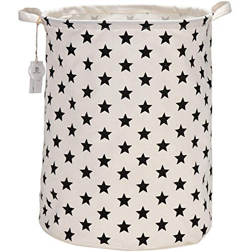 Sea Team 19.7 Inch Large Sized Waterproof Coating Ramie Cotton Fabric Folding Laundry Hamper Bucket Cylindric Burlap Canvas Storage Basket with Stylish Black Design (Black Star)