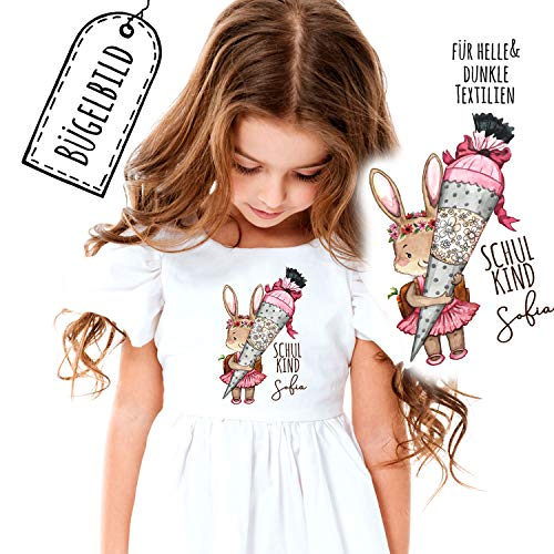 ilka parey wandtattoo-welt Bügelbilder zum Schulanfang Häschen mit Schultüte & Wunschname Schulkind Applikation Kissen Shirt Taschen Bügelbild Patch in A5 bb181