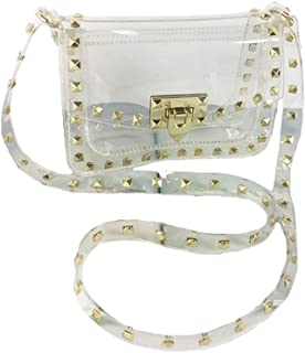 Transparent PVC Stylish Purse Clear Handbag Shoulder Bag with Gold-Color Side-Decorations Strap
