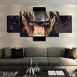 FJNS Naruto Evil Smile - Impression sur Toile - 5 pièces Multi Panel - pour Le Salon Home Decor Gallery Art - Cadeau de décoration Murale de Anime,B,20×35×2+20×45×2+20×55×1