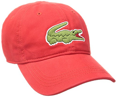 Lacoste RK8217-51 Mens Classic Big Croc Gabardine Cap Baseball Cap, Red, One Size