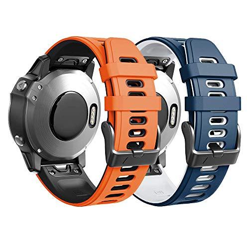 ANBEST Kompatibel mit Garmin Fenix 5S Armband, schnelle Veröffentlichung Silikon 20mm Ersatzarmband für Fenix 6S/6S Pro/Fenix 6S Pro/D2 Delta S smart Watch, 2-Pack