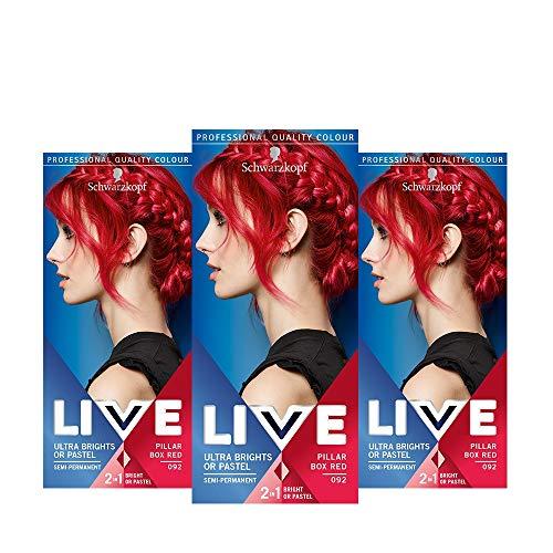 Schwarzkopf Live Ultra Bright oder Pastell Haarfarbe, semi-permanente Farbergebnisse - 3x 092 Stumpenkasten rot