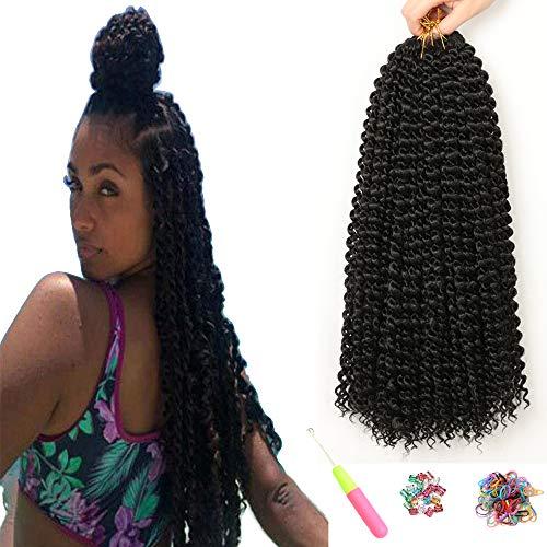 7 paquetes de extensiones de cabello Passion Twists para mujeres negras niñas ShowJarlly 18 pulgadas (46 cm) moda pelo ondulado sintético de ganchillo (18inch(46cm), 1B#)