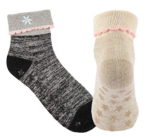 Vitasox 14484 Damen Socken Wolle Angora Wollsocken Angorasocken mit Umschlag und ABS 2 Paar schwarz natur 39/42