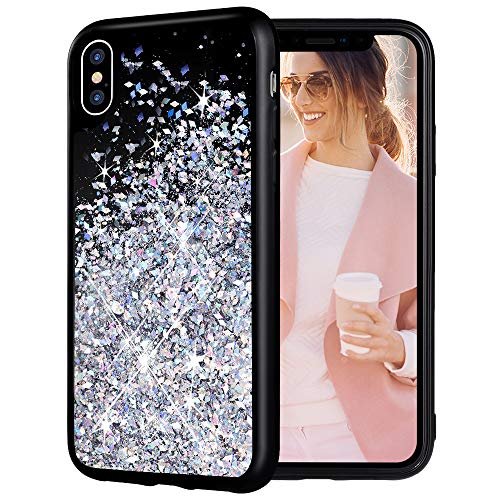 iPhone X Case, Caka iPhone X XS Glitter Case Christmas Luxury Fashion Snowflake Bling Flowing Liquid Floating Sparkle Glitter Girly Cute Soft TPU Black Case for iPhone X XS (5.8 inch) (Silver)