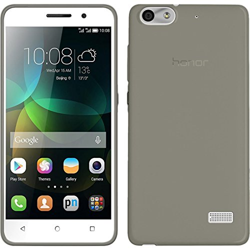 PhoneNatic Hülle kompatibel mit Huawei Honor 4c - grau Silikon Hülle Slimcase + 2 Schutzfolien