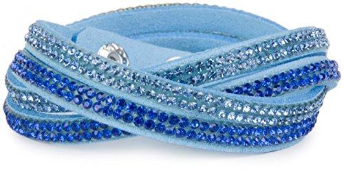 styleBREAKER weiches Strass Armband, eleganter Armschmuck mit Strassteinen, Wickelarmband, 2x2-Reihig, Damen 05040004, Farbe:Hellblau/Hellblau-Blau