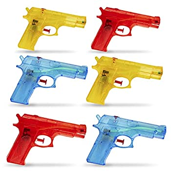 Kicko 6 Pieces Squirt Water Gun - 6 Inches Plastic Assorted Colors - Classic Action and Fun Toy Pool Prize Party Favor