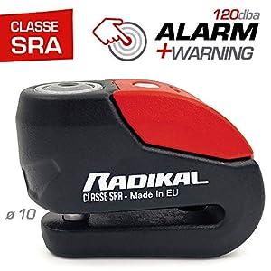 Radikal RK10 Candado Antirrobo Moto Disco Alarma 120 Dba + Avisador Led Univesal, Alta Seguridad Homologado CLASSE Sra, Eje 10 mm, Made in EU