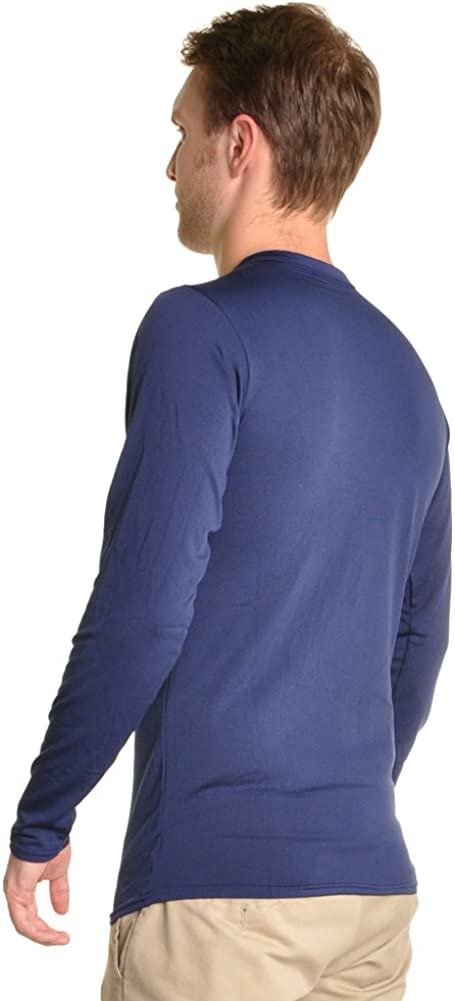 Swan Mens Fleece-Lined Crew Neck Long Sleeve Thermal Tops
