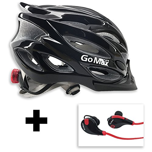 GoMax Aero Adult Safety Helmet Adjustable Road Cycling Mountain Bike Bicycle Helmet Ultralight w/Rear LED Tail Light Bundle Bluetooth Stereo Headset (Black Helmet + Red/Black Headset)
