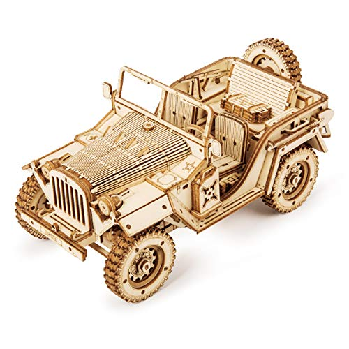 ROKR 3D Wooden Puzzle for Adults-Mechanical Car Model Kits-Brain Teaser Puzzles-Vehicle Building Kits-Unique Gift for Kids on Birthday/Christmas Day(1:18 Scale)(MC701-Army Field Car)