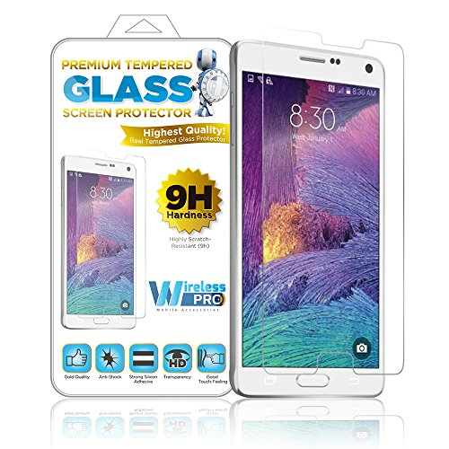 Wireless Pro Real Tempered Glass Premium Screen Protector - 9H Highly Scratch Resistant Fingerprint Resistant & Anti-Shock - The Worlds Best & Easy to Install - Samsung Galaxy Note 4