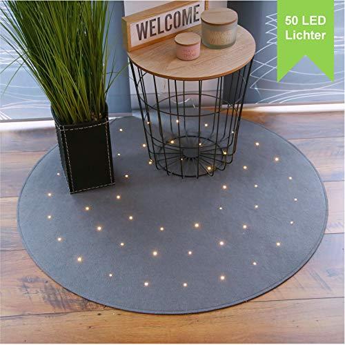 LILENO HOME Teppich rund grau aus Filz mit mit 50 LED u. 8 Leuchtfunktionen - runder kurzflor Teppich (Ø100cm) für Wohnzimmer, Schlafzimmer und Kinderzimmer - Teppich grau - inkl. Timer