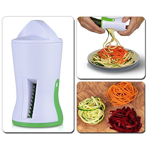 Groente-spiraalsnijder voor het maken van zoodles (Zuchhinininudels), spiraalsnijder voor aardappelen/wortels, met drie stalen messen