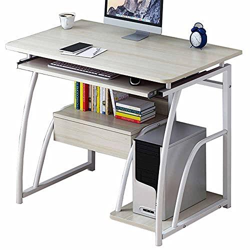 LJFYXZ Mesa de Ordenador 70cm Mesa de Madera para Escribir con Soporte para Teclado Escritorio de Estudio con estantes cajones Muebles de Oficina(Color:Arce)