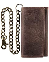 RFID Blocking Mens Tri-fold Long Style Cowhide Leather Steel Chain Wallet, (ONE, Antique brown)