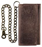 RFID Blocking Mens Tri-fold Long Style Cowhide Leather Steel Chain Wallet, (ONE, Antique brown)…