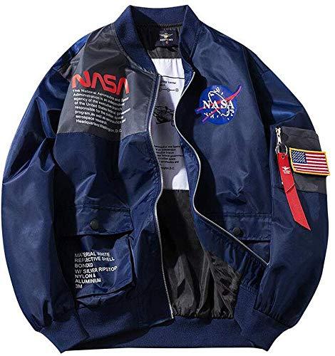 GHHYS Herren NASA Logo Flieger Bomberjacke wasserdichte Windjacke Outdoor Sport Air Force MA-1 Jacke Mantel,Blau,XXL