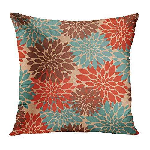 Accrocn Throw Pillow Covers Unique Elegant Orange Teal Cream Brown Peonies Print Pattern Popular Cushion Decorative Pillowcases Polyester 20 x 20 Inch Square Pillowcase Hidden Zipper