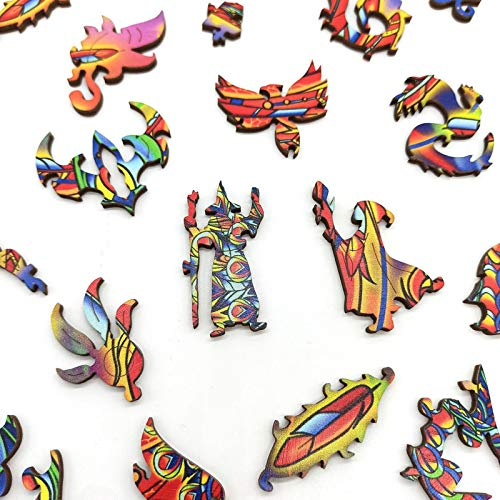 N N Jigsaw Puzzles for Adults and Kids 300 Pieces Wooden Irregular Unique Shaped Puzzle Toy Childrens Puzzle Animal Shaped Jigsaw Gifts for Mom Dad Gift for Friend Phoenix