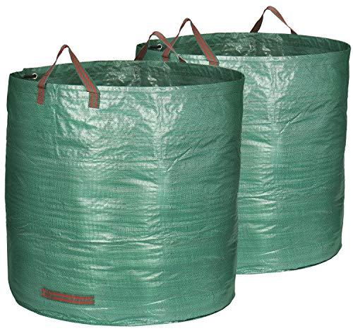 com-four® 2X Gartensack mit Tragegriffen - Faltbarer XXL Gartenabfallsack - Reißfeste Falttonne für Laub und Grünschnitt (02 Stück - 500 Liter)