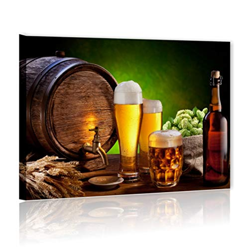 Quadri L&C ITALIA Quadri Cucina e per Bar Moderni 70x50 Stampa su Tela Soggiorno Ristorante Decorazioni da Parete, Birra 2