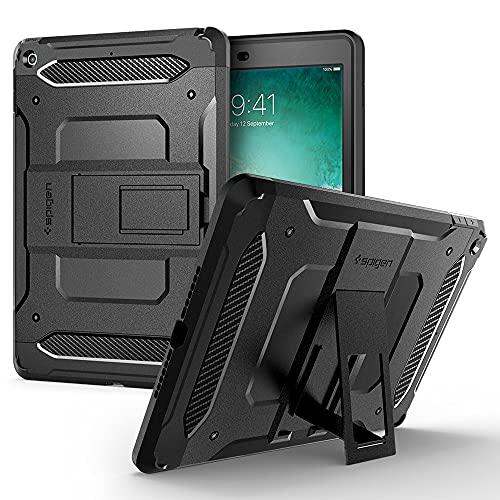 Spigen iPad 第6世代 第5世代 ケース カバー 耐衝撃 ガラスフィルム 米軍MIL スタンド 全面保護 衝撃吸収 アイパッド9.7 2018 2017 シュピゲン タフ・アーマー テック 053CS22776 (ブラック)